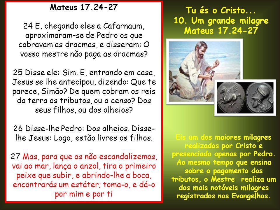 Mateus 17.24-27 24 E, chegando eles a Cafarnaum, aproximaram-se de Pedro os que cobravam as dracmas, e disseram: O vosso mestre não paga as dracmas? 2