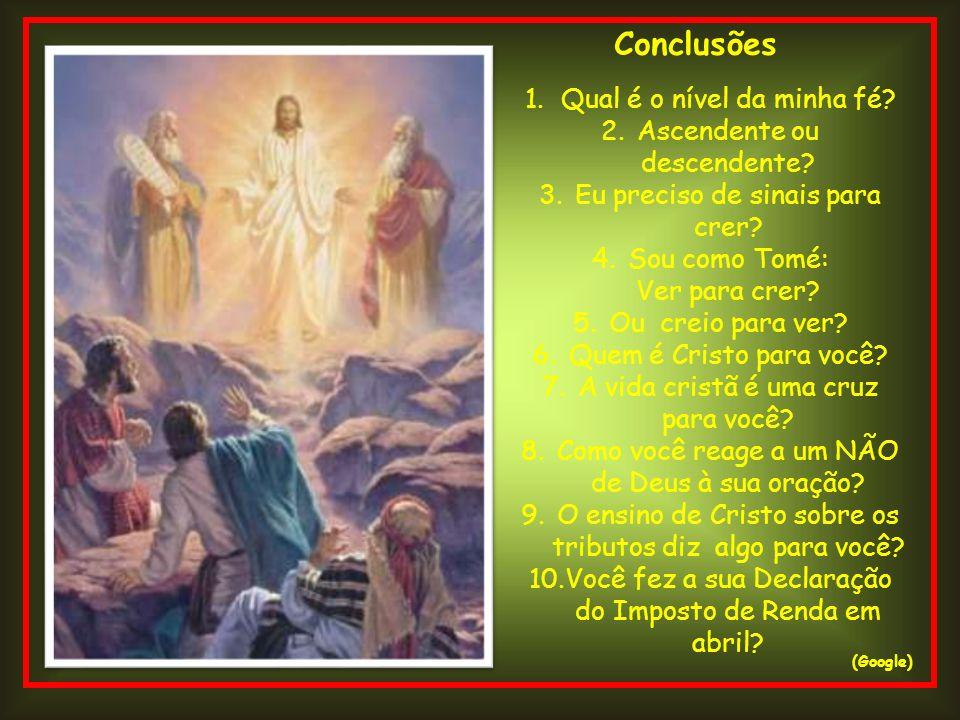 Conclusões (Google) 1.Qual é o nível da minha fé? 2.Ascendente ou descendente? 3.Eu preciso de sinais para crer? 4.Sou como Tomé: Ver para crer? 5.Ou