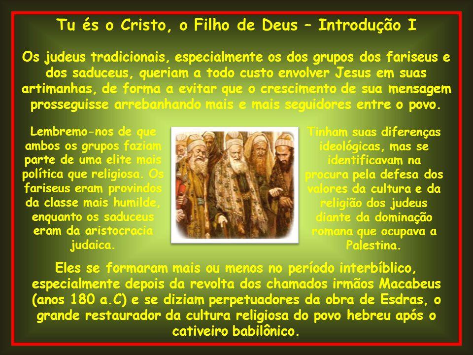 Tu és o Cristo, o Filho de Deus – Introdução I Os judeus tradicionais, especialmente os dos grupos dos fariseus e dos saduceus, queriam a todo custo e