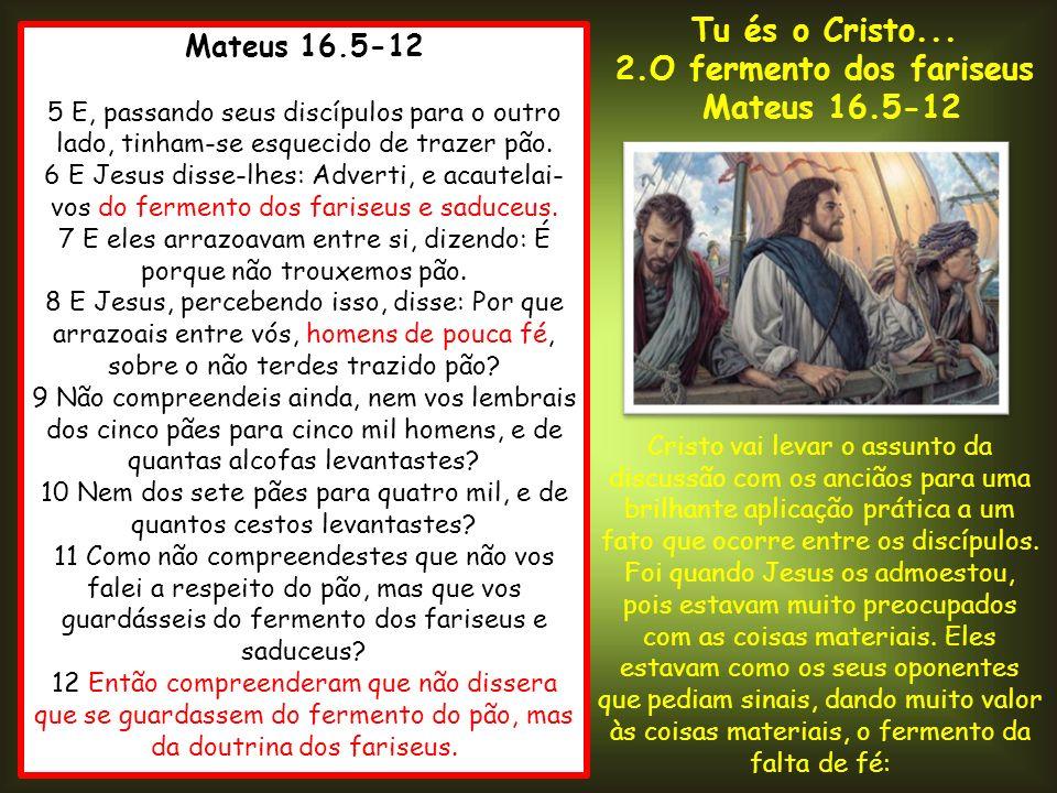Mateus 16.5-12 5 E, passando seus discípulos para o outro lado, tinham-se esquecido de trazer pão. 6 E Jesus disse-lhes: Adverti, e acautelai- vos do