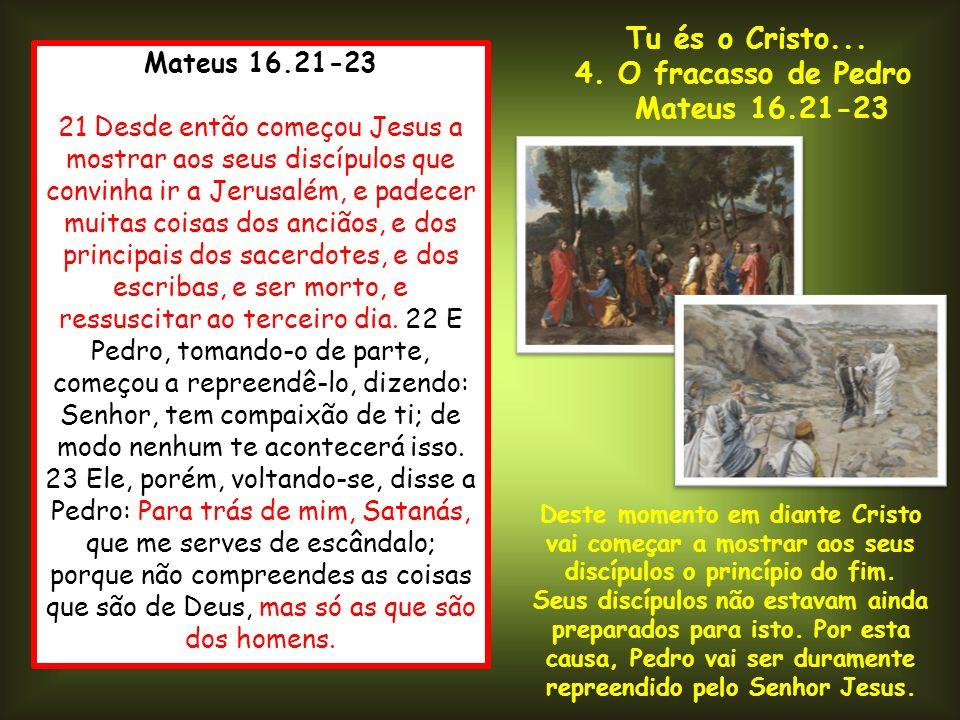 Mateus 16.21-23 21 Desde então começou Jesus a mostrar aos seus discípulos que convinha ir a Jerusalém, e padecer muitas coisas dos anciãos, e dos pri