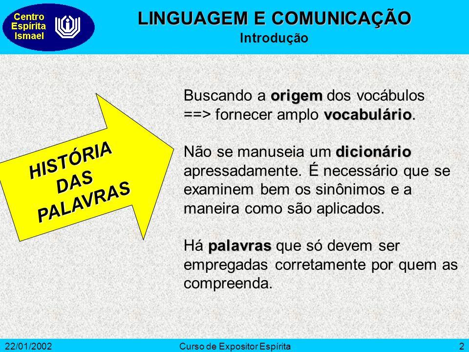 22/01/2002Curso de Expositor Espírita2 origem vocabulário Buscando a origem dos vocábulos ==> fornecer amplo vocabulário.