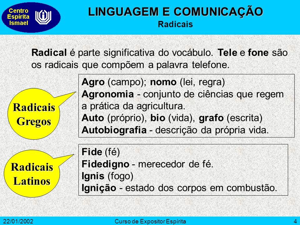 22/01/2002Curso de Expositor Espírita4 Radical é parte significativa do vocábulo.
