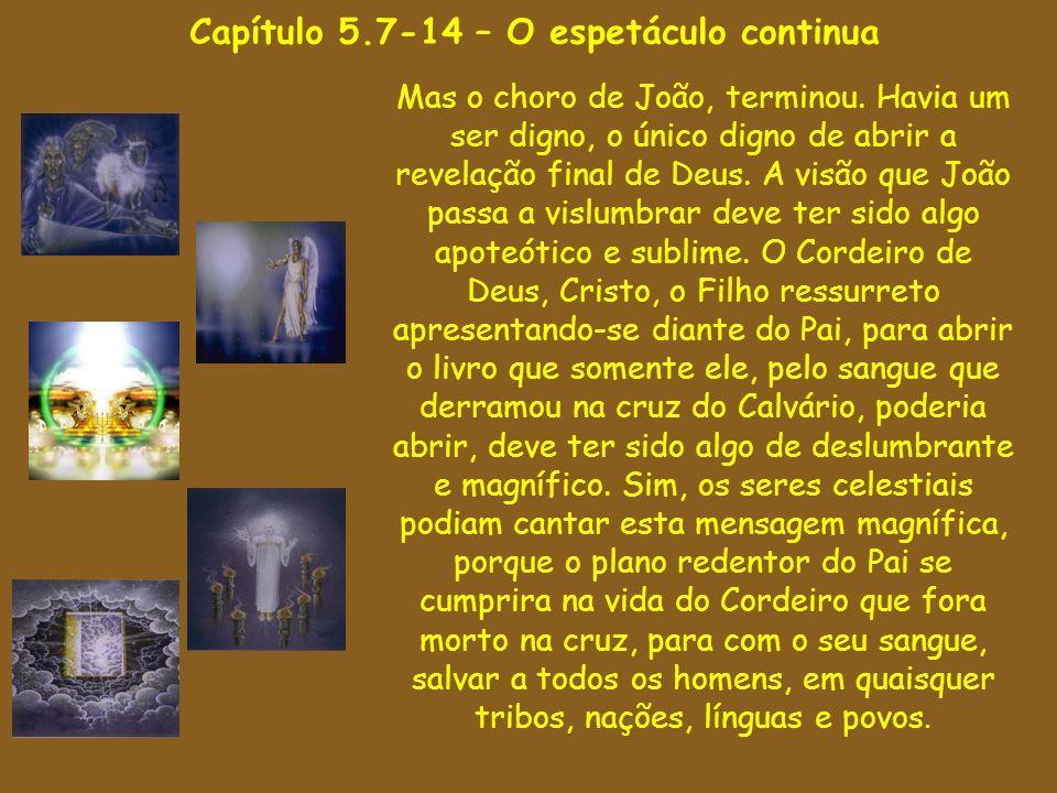 Capítulo 5.7-14 – O espetáculo continua Mas o choro de João, terminou. Havia um ser digno, o único digno de abrir a revelação final de Deus. A visão q