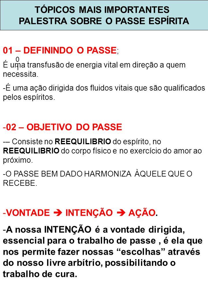 TÓPICOS MAIS IMPORTANTES PALESTRA SOBRE O PASSE ESPÍRITA 0101 03 –TIPOS DE PASSE ; MAGNÉTICO MEDIUNICO.