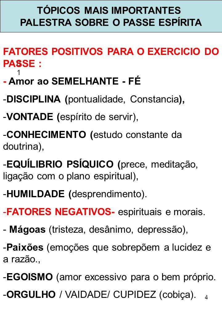 4 TÓPICOS MAIS IMPORTANTES PALESTRA SOBRE O PASSE ESPÍRITA 0101 FATORES POSITIVOS PARA O EXERCICIO DO PASSE : - Amor ao SEMELHANTE - FÉ -DISCIPLINA (p