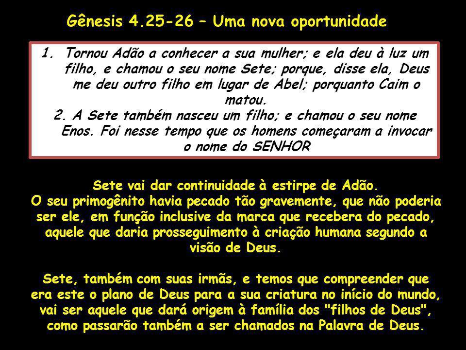 Gênesis 4.25-26 – Uma nova oportunidade 1.Tornou Adão a conhecer a sua mulher; e ela deu à luz um filho, e chamou o seu nome Sete; porque, disse ela,