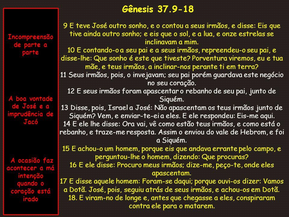 Gênesis 37.19-25 O texto de hoje é uma lição para nós.