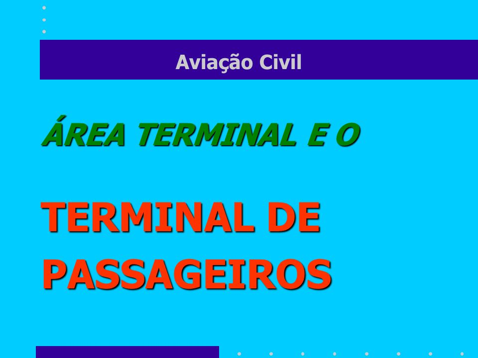 Aviação Civil ÁREA TERMINAL área de movimento a ÁREA TERMINAL é a maior interface entre a área de movimento e o resto do AEROPORTO...