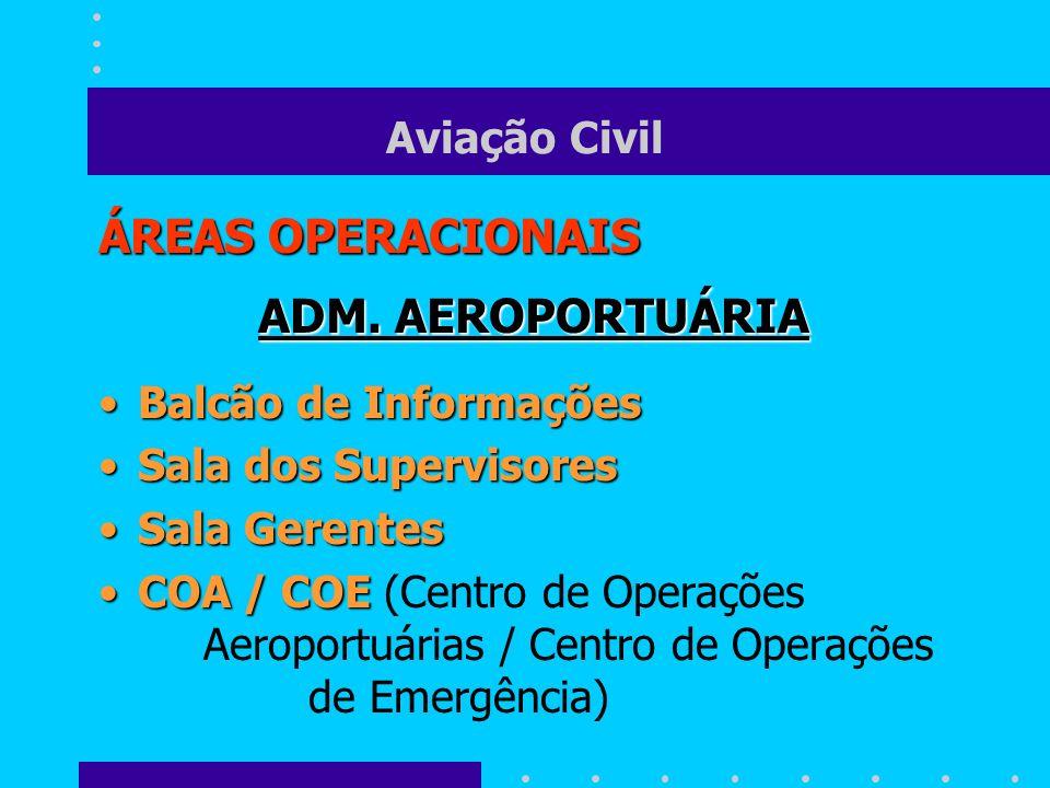 Aviação Civil ÁREAS OPERACIONAIS ADM. AEROPORTUÁRIA Balcão de InformaçõesBalcão de Informações Sala dos SupervisoresSala dos Supervisores Sala Gerente