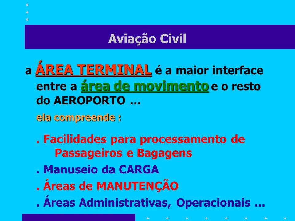 Aviação Civil ÁREA TERMINAL área de movimento a ÁREA TERMINAL é a maior interface entre a área de movimento e o resto do AEROPORTO... ela compreende :