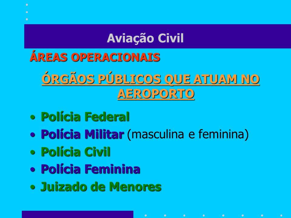 Aviação Civil ÁREAS OPERACIONAIS ÓRGÃOS PÚBLICOS QUE ATUAM NO AEROPORTO Polícia FederalPolícia Federal Polícia MilitarPolícia Militar (masculina e fem