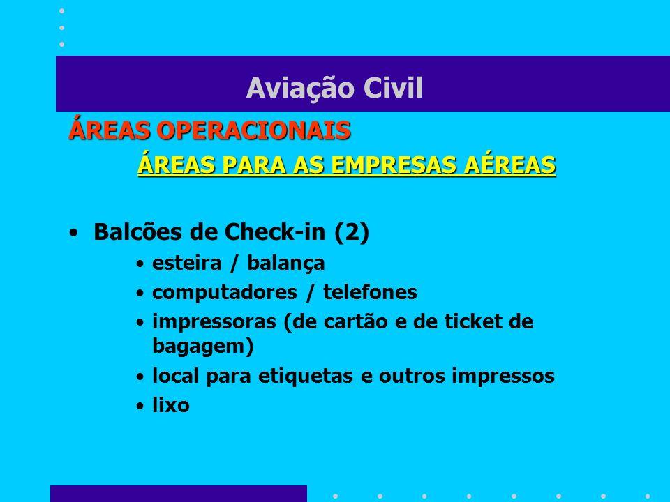 Aviação Civil ÁREAS OPERACIONAIS ÁREAS PARA AS EMPRESAS AÉREAS Balcões de Check-in (2) esteira / balança computadores / telefones impressoras (de cart