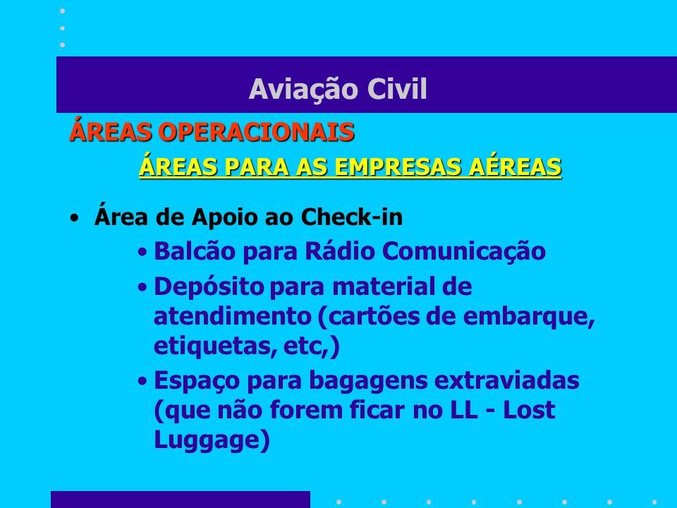 Aviação Civil ÁREAS OPERACIONAIS ÁREAS PARA AS EMPRESAS AÉREAS Área de Apoio ao Check-in Balcão para Rádio Comunicação Depósito para material de atend