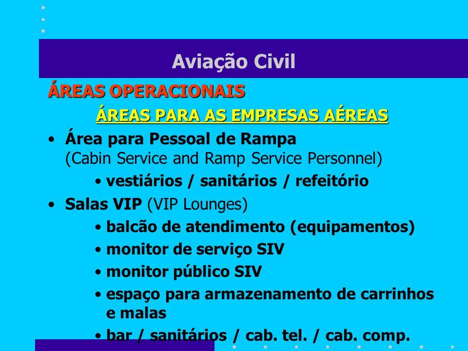 Aviação Civil ÁREAS OPERACIONAIS ÁREAS PARA AS EMPRESAS AÉREAS Área para Pessoal de Rampa (Cabin Service and Ramp Service Personnel) vestiários / sani