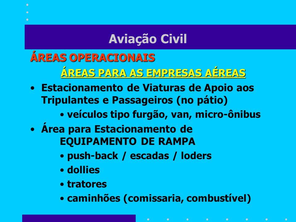 Aviação Civil ÁREAS OPERACIONAIS ÁREAS PARA AS EMPRESAS AÉREAS Estacionamento de Viaturas de Apoio aos Tripulantes e Passageiros (no pátio) veículos t
