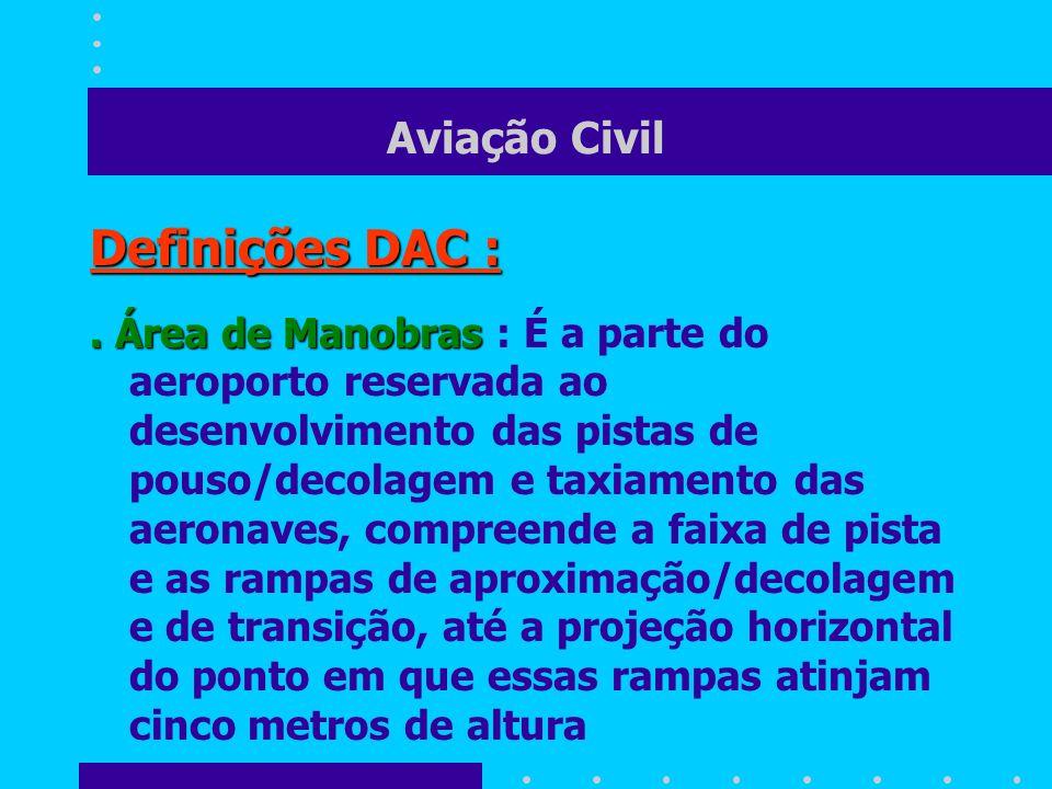 Aviação Civil Definições DAC :. Área de Manobras. Área de Manobras : É a parte do aeroporto reservada ao desenvolvimento das pistas de pouso/decolagem