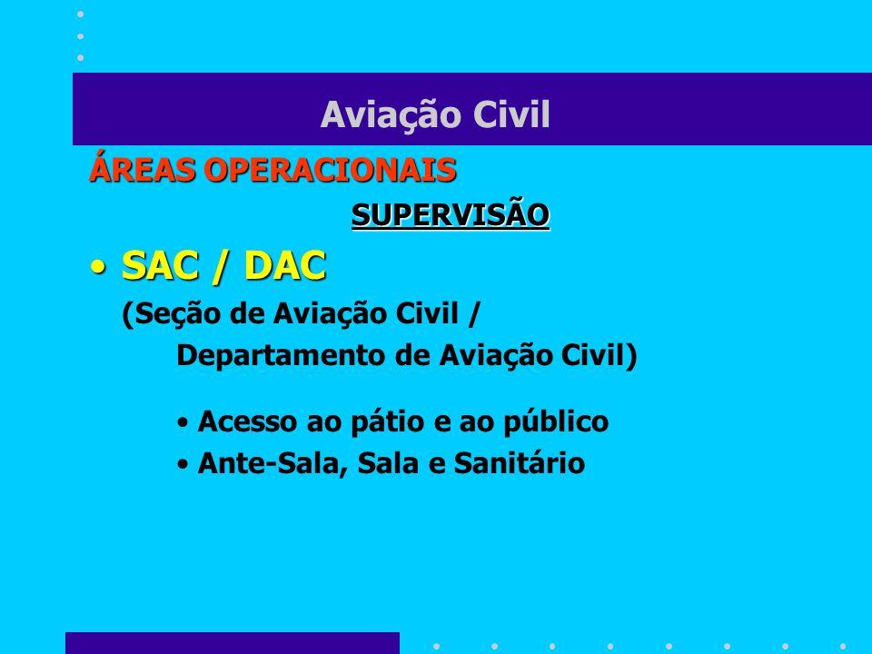 Aviação Civil ÁREAS OPERACIONAIS SUPERVISÃO SAC / DACSAC / DAC (Seção de Aviação Civil / Departamento de Aviação Civil) Acesso ao pátio e ao público A