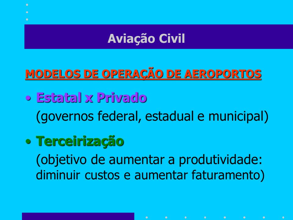 Aviação Civil MODELOS DE OPERAÇÃO DE AEROPORTOS Estatal x PrivadoEstatal x Privado (governos federal, estadual e municipal) TerceirizaçãoTerceirização
