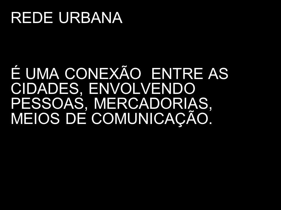 REDE URBANA É UMA CONEXÃO ENTRE AS CIDADES, ENVOLVENDO PESSOAS, MERCADORIAS, MEIOS DE COMUNICAÇÃO.