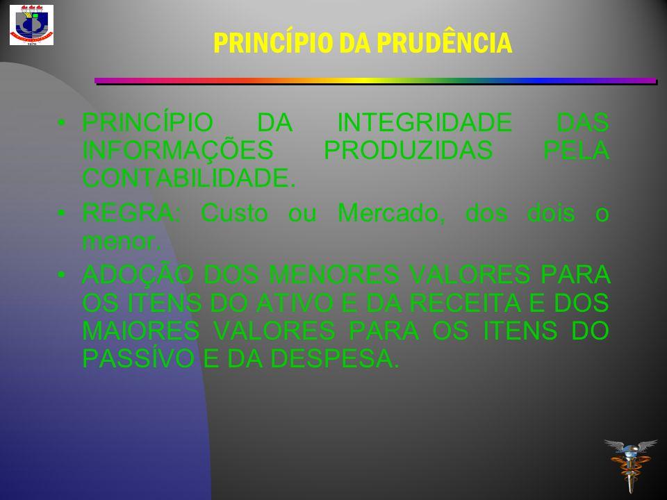 PRINCÍPIO DA PRUDÊNCIA PRINCÍPIO DA INTEGRIDADE DAS INFORMAÇÕES PRODUZIDAS PELA CONTABILIDADE. REGRA: Custo ou Mercado, dos dois o menor. ADOÇÃO DOS M