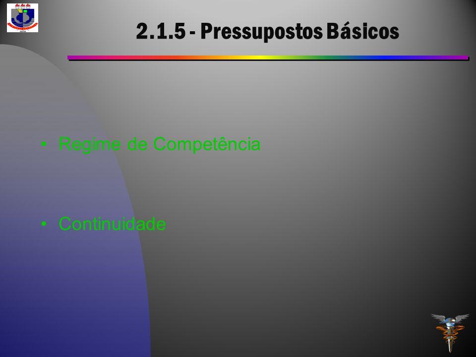 2.1.5 - Pressupostos Básicos Regime de Competência Continuidade
