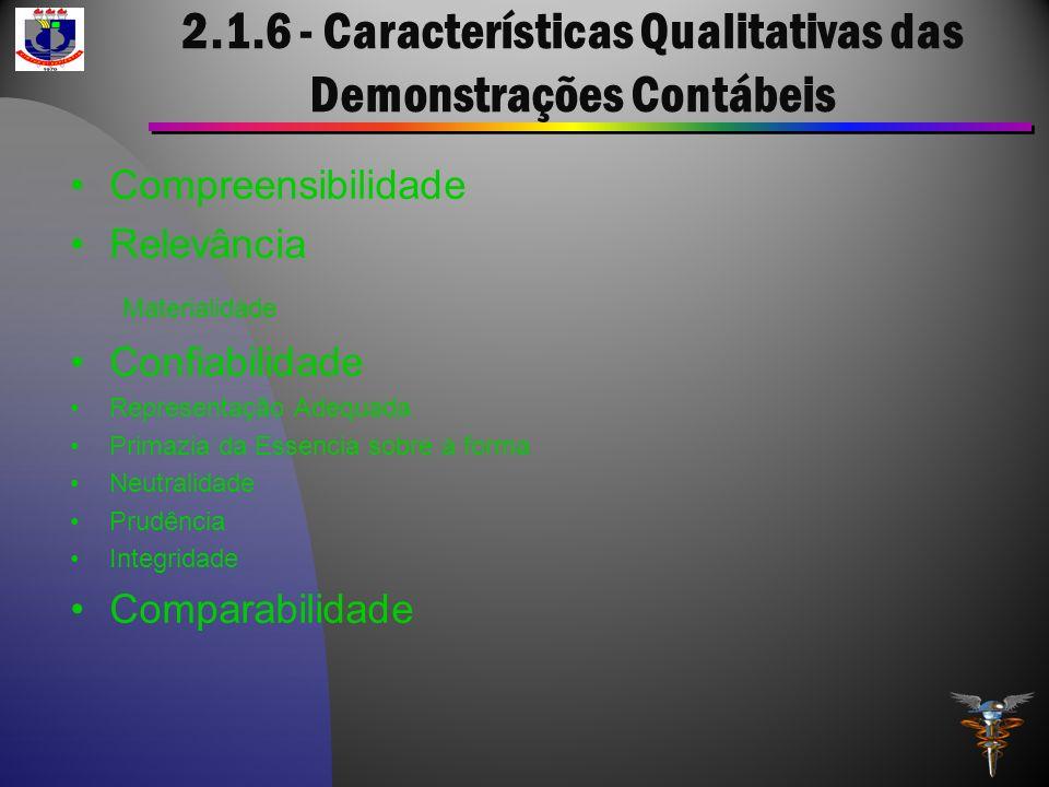 2.1.6 - Características Qualitativas das Demonstrações Contábeis Compreensibilidade Relevância Materialidade Confiabilidade Representação Adequada Pri