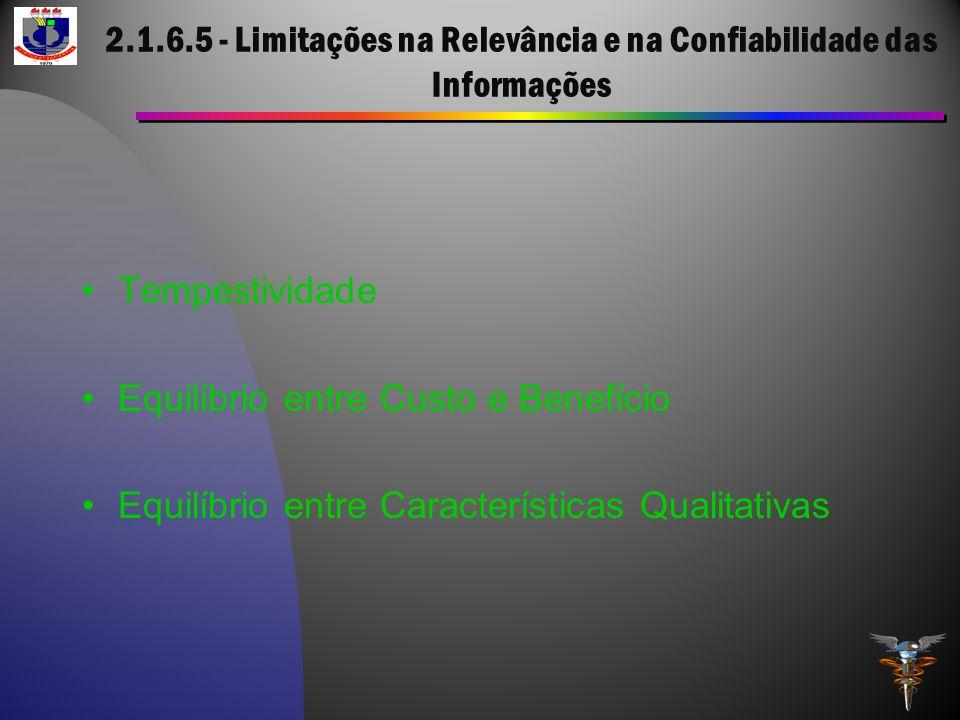 2.1.6.5 - Limitações na Relevância e na Confiabilidade das Informações Tempestividade Equilíbrio entre Custo e Benefício Equilíbrio entre Característi