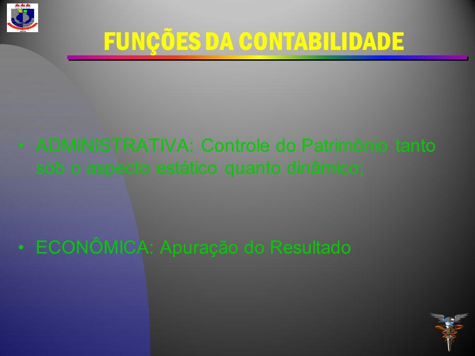 FUNÇÕES DA CONTABILIDADE ADMINISTRATIVA: Controle do Patrimônio tanto sob o aspecto estático quanto dinâmico; ECONÔMICA: Apuração do Resultado