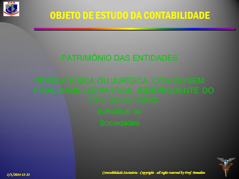 2/1/2014 13:33 Contabilidade Societária - Copyright - all right reserved by Prof. Benedito OBJETO DE ESTUDO DA CONTABILIDADE PATRIMÔNIO DAS ENTIDADES