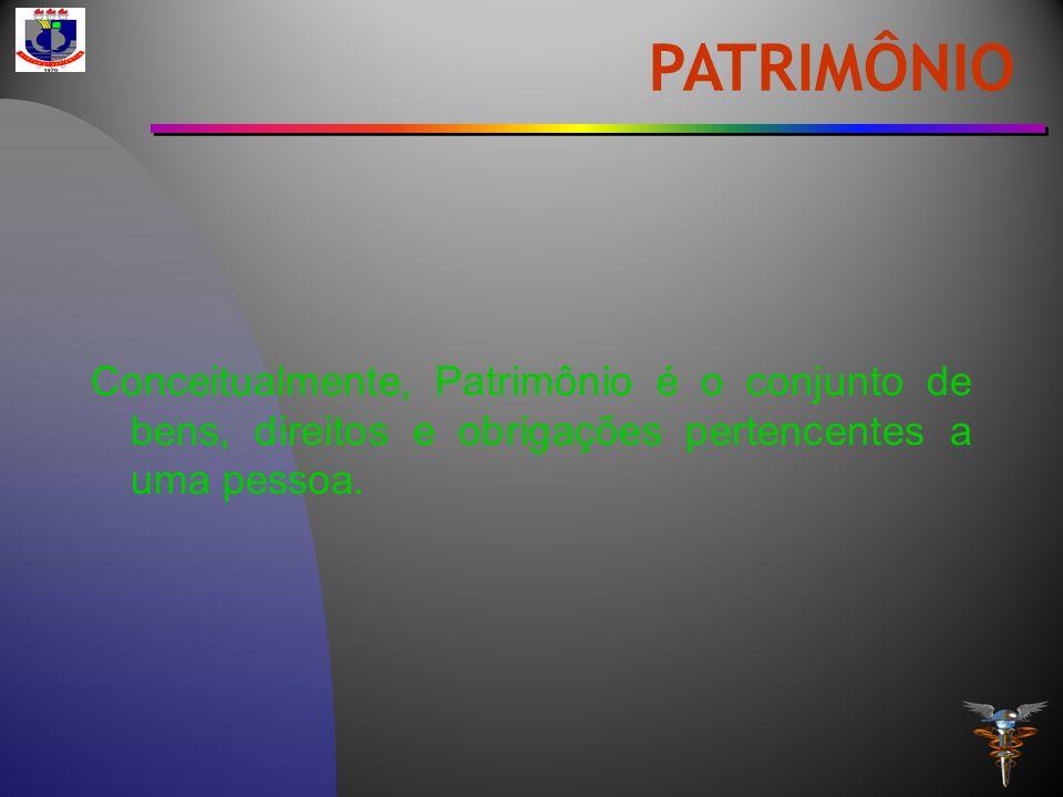 Conceitualmente, Patrimônio é o conjunto de bens, direitos e obrigações pertencentes a uma pessoa. PATRIMÔNIO