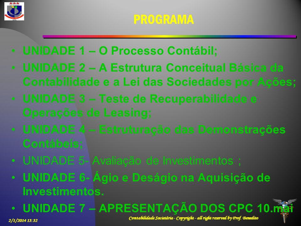 PROGRAMA UNIDADE 1 – O Processo Contábil; UNIDADE 2 – A Estrutura Conceitual Básica da Contabilidade e a Lei das Sociedades por Ações; UNIDADE 3 – Tes