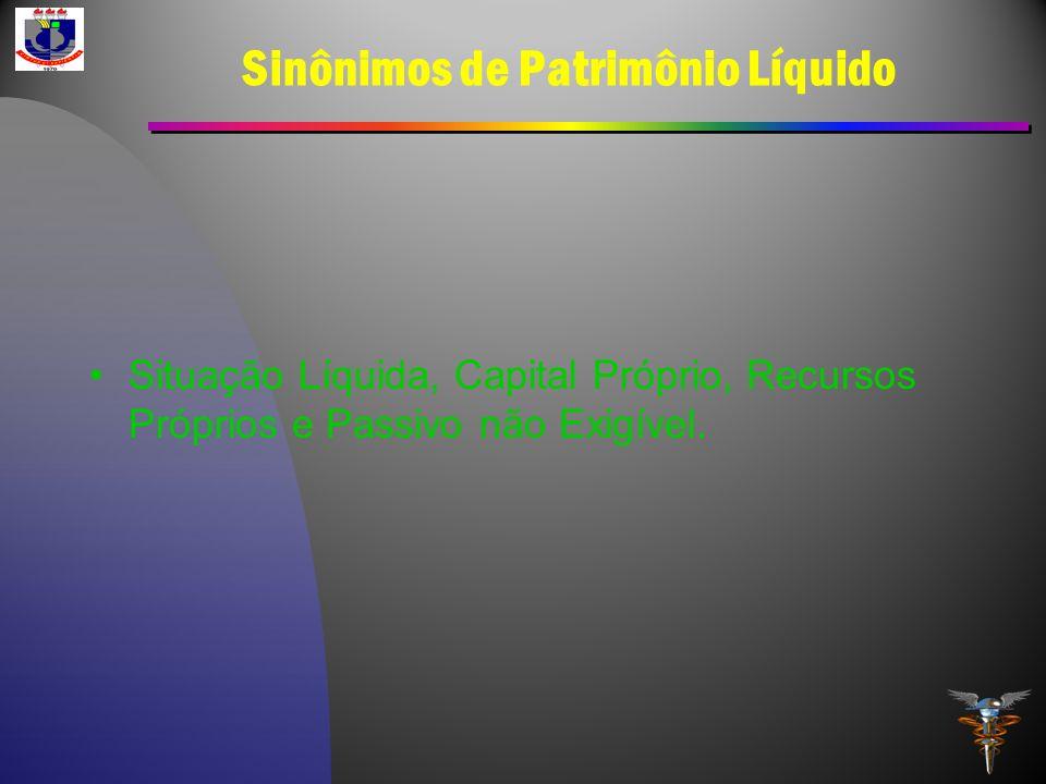 Sinônimos de Patrimônio Líquido Situação Líquida, Capital Próprio, Recursos Próprios e Passivo não Exigível.