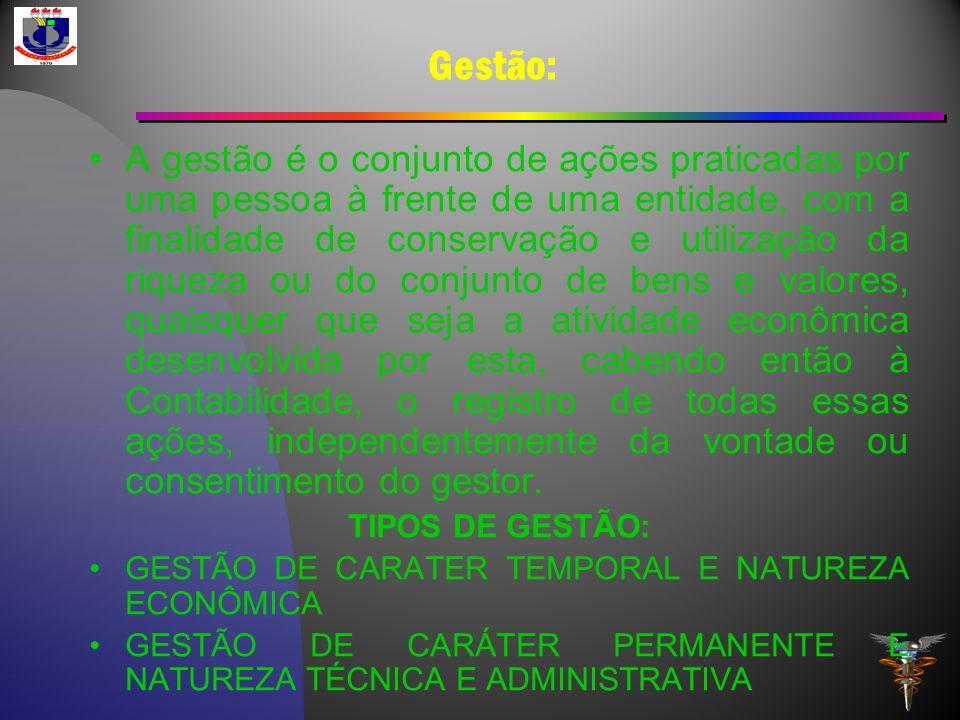 Gestão: A gestão é o conjunto de ações praticadas por uma pessoa à frente de uma entidade, com a finalidade de conservação e utilização da riqueza ou