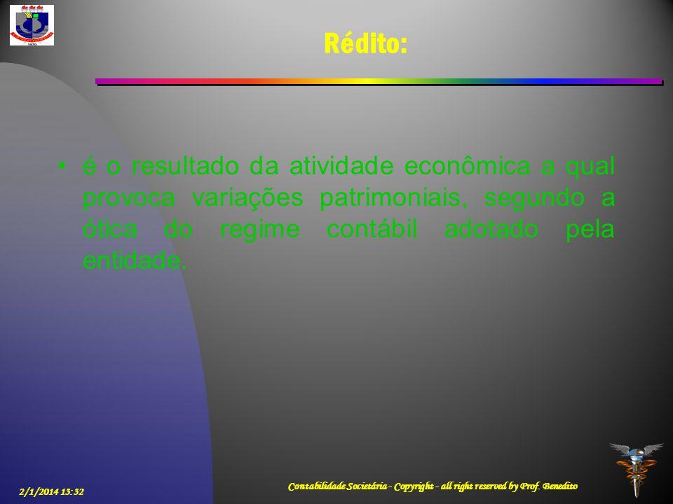 2/1/2014 13:33 Contabilidade Societária - Copyright - all right reserved by Prof. Benedito Rédito: é o resultado da atividade econômica a qual provoca