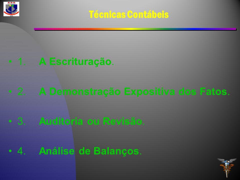 Técnicas Contábeis 1. A Escrituração. 2. A Demonstração Expositiva dos Fatos. 3. Auditoria ou Revisão. 4. Análise de Balanços.