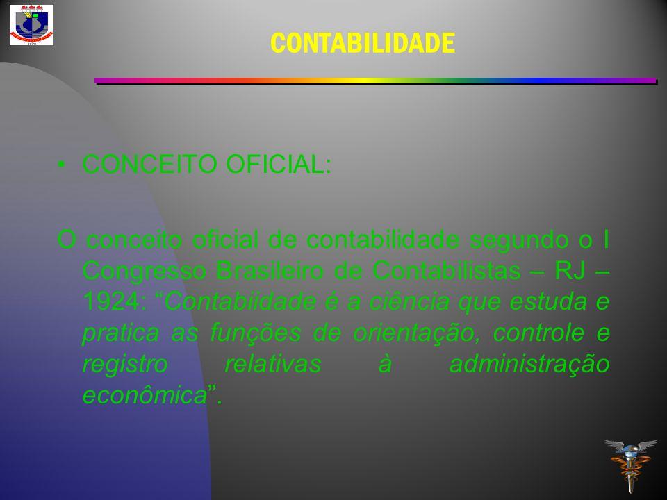 CONTABILIDADE CONCEITO OFICIAL: O conceito oficial de contabilidade segundo o I Congresso Brasileiro de Contabilistas – RJ – 1924: Contabiidade é a ci
