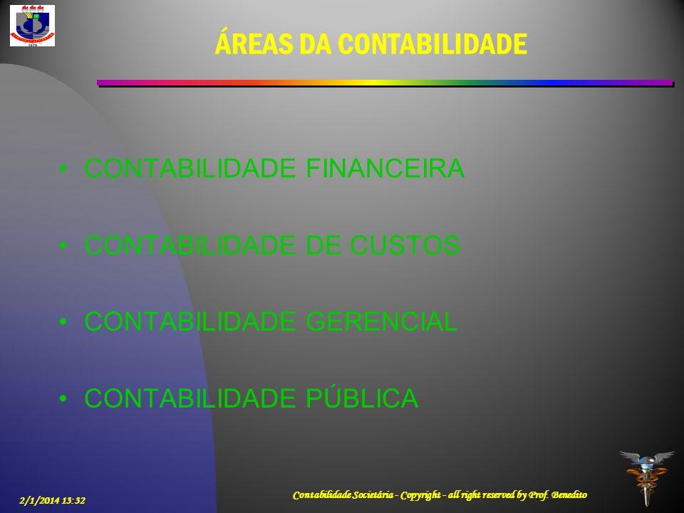 2/1/2014 13:33 Contabilidade Societária - Copyright - all right reserved by Prof. Benedito ÁREAS DA CONTABILIDADE CONTABILIDADE FINANCEIRA CONTABILIDA
