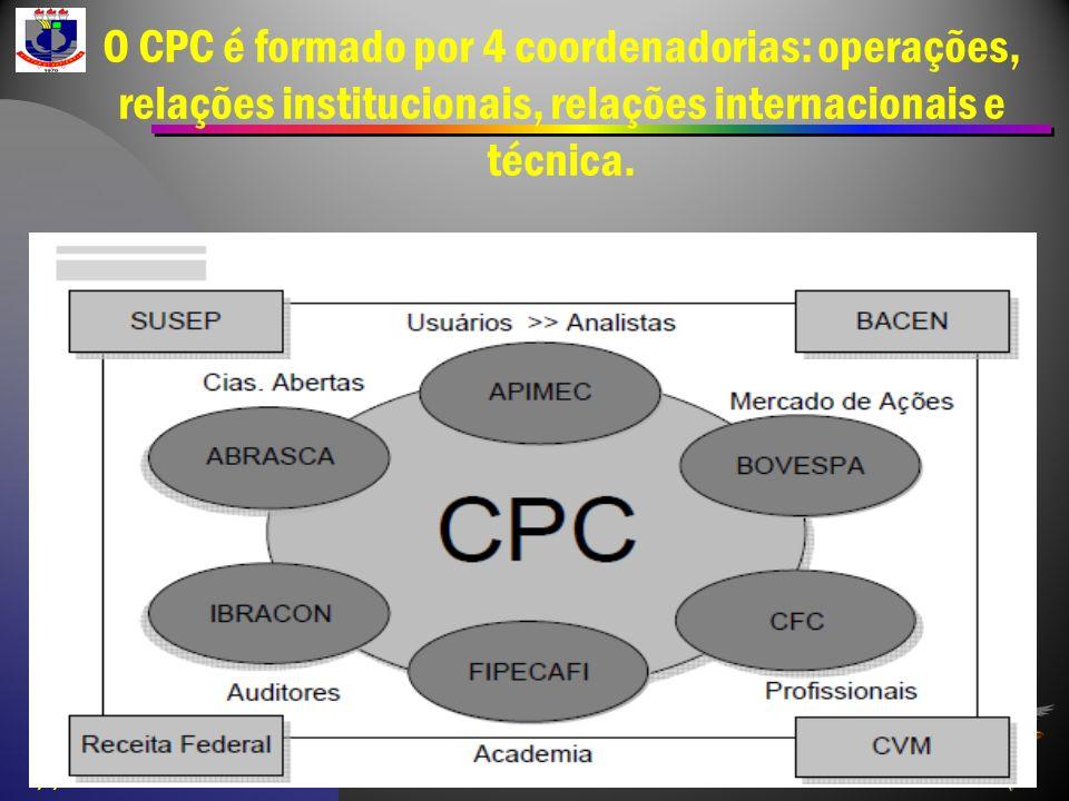 O CPC é formado por 4 coordenadorias: operações, relações institucionais, relações internacionais e técnica. 2/1/2014 13:33 Contabilidade Societária -