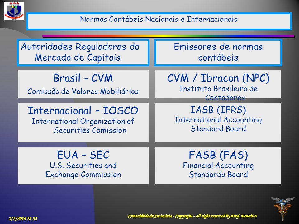 2/1/2014 13:33 Contabilidade Societária - Copyright - all right reserved by Prof. Benedito Normas Contábeis Nacionais e Internacionais Brasil - CVM Co