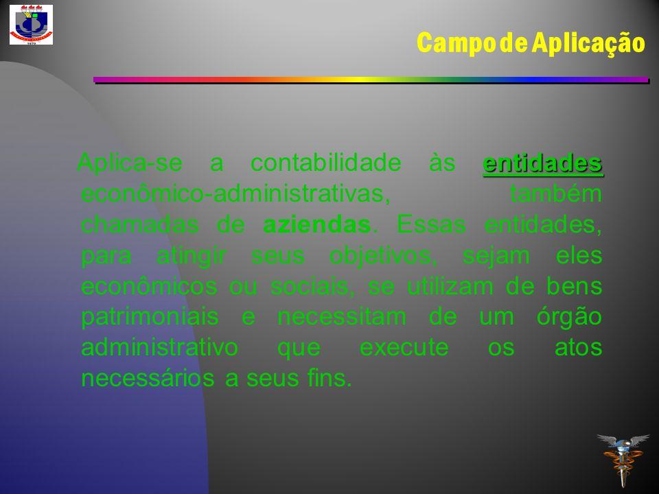 Campo de Aplicação entidades Aplica-se a contabilidade às entidades econômico-administrativas, também chamadas de aziendas. Essas entidades, para atin