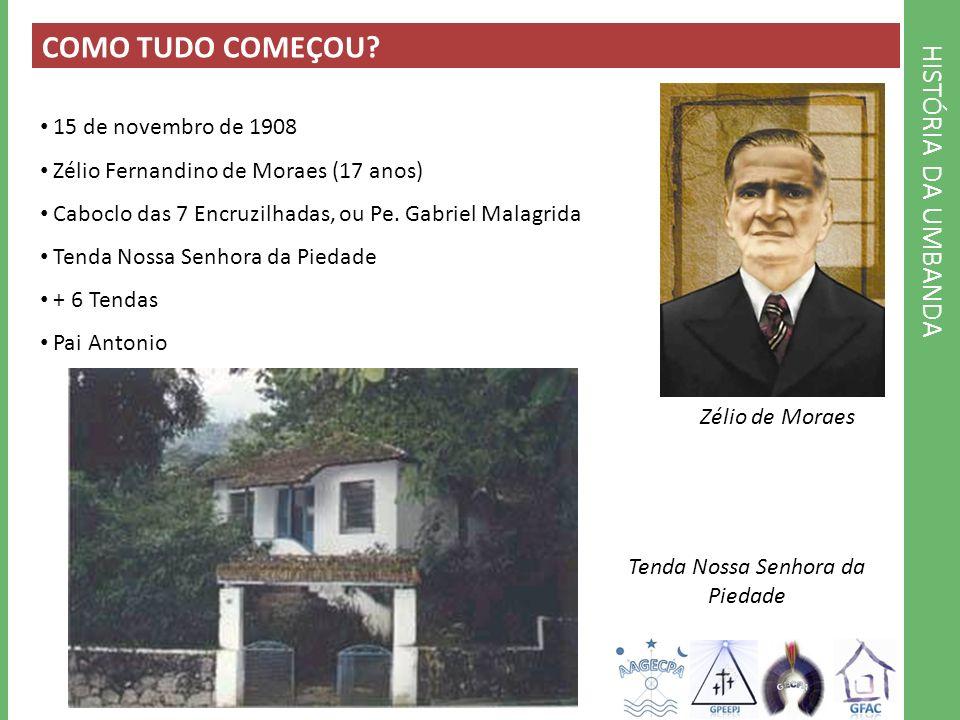 COMO TUDO COMEÇOU? 15 de novembro de 1908 Zélio Fernandino de Moraes (17 anos) Caboclo das 7 Encruzilhadas, ou Pe. Gabriel Malagrida Tenda Nossa Senho