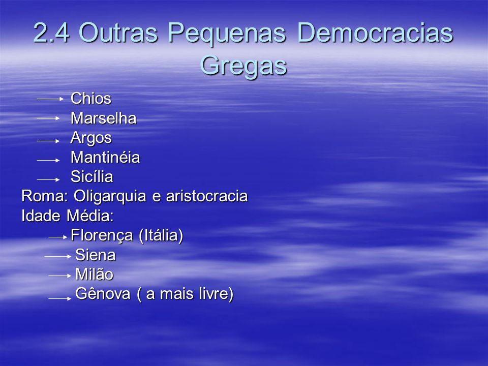 2.4 Outras Pequenas Democracias Gregas Chios Chios Marselha Marselha Argos Argos Mantinéia Mantinéia Sicília Sicília Roma: Oligarquia e aristocracia I