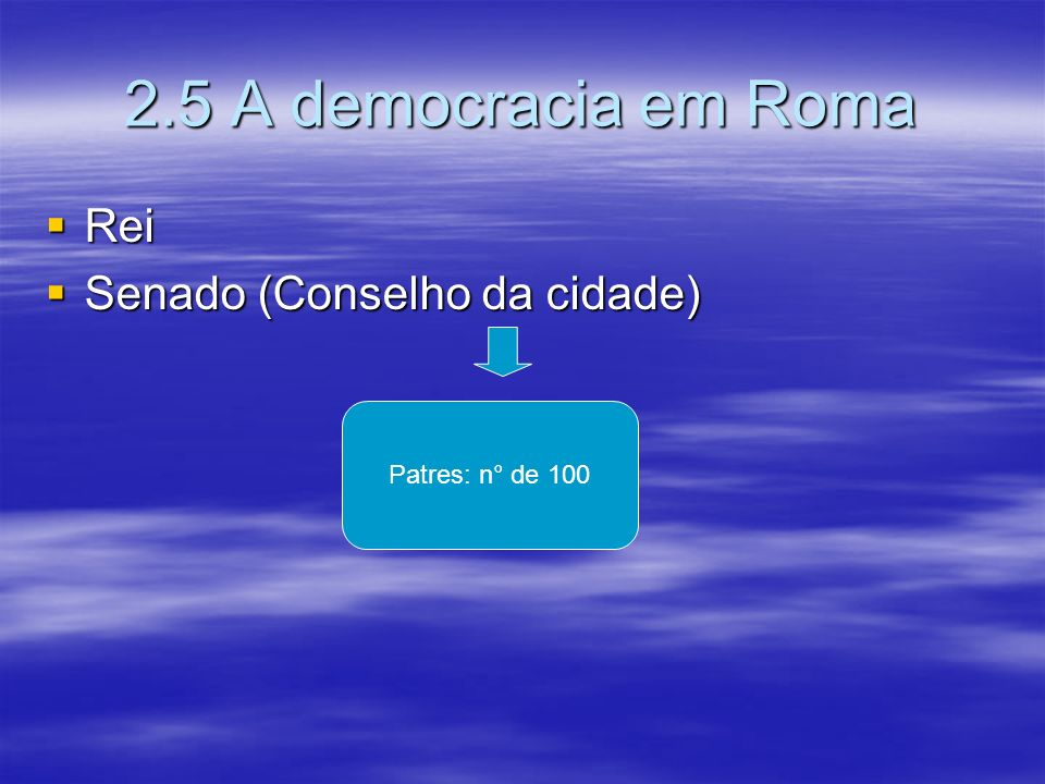 2.5 A democracia em Roma Rei Rei Senado (Conselho da cidade) Senado (Conselho da cidade) Patres: n° de 100
