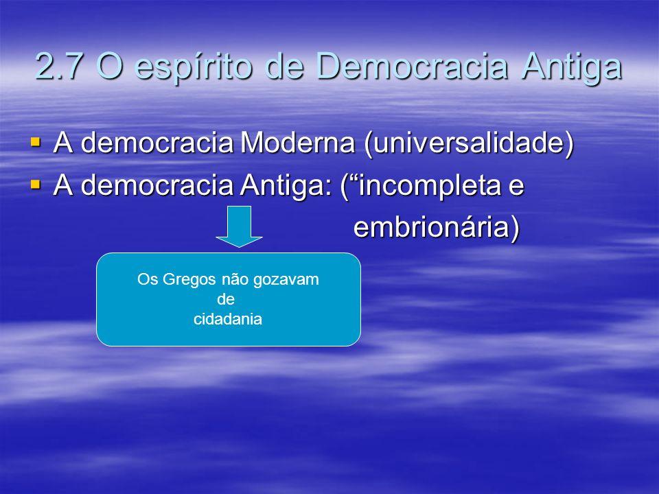2.7 O espírito de Democracia Antiga A democracia Moderna (universalidade) A democracia Moderna (universalidade) A democracia Antiga: (incompleta e A d