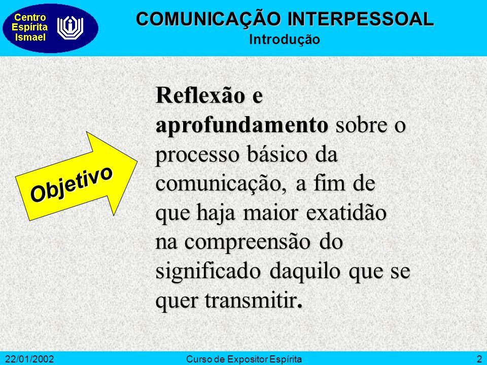 22/01/2002Curso de Expositor Espírita2 Reflexão e aprofundamento sobre o processo básico da comunicação, a fim de que haja maior exatidão na compreensão do significado daquilo que se quer transmitir.