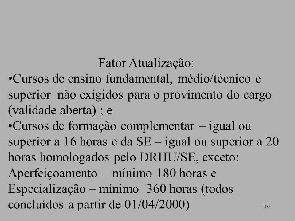 10 Fator Atualização: Cursos de ensino fundamental, médio/técnico e superior não exigidos para o provimento do cargo (validade aberta) ; e Cursos de f
