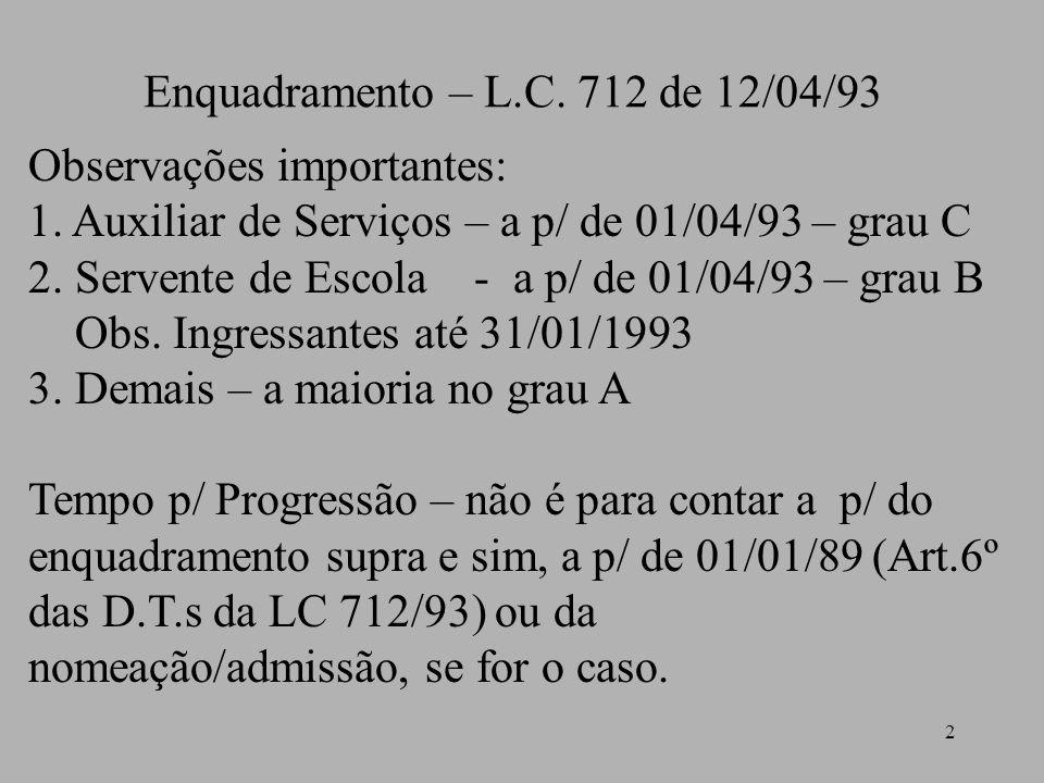2 Enquadramento – L.C. 712 de 12/04/93 Observações importantes: 1. Auxiliar de Serviços – a p/ de 01/04/93 – grau C 2. Servente de Escola - a p/ de 01