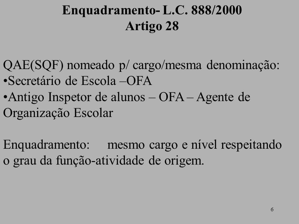 6 Enquadramento- L.C. 888/2000 Artigo 28 QAE(SQF) nomeado p/ cargo/mesma denominação: Secretário de Escola –OFA Antigo Inspetor de alunos – OFA – Agen