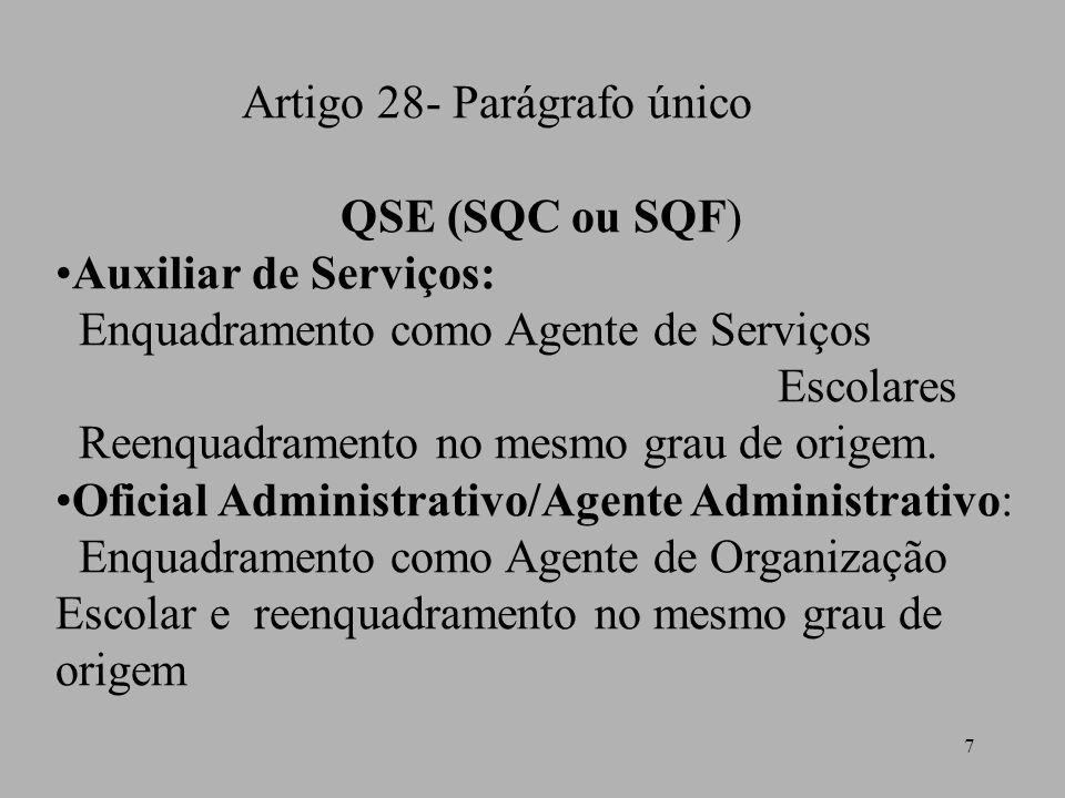 7 Artigo 28- Parágrafo único QSE (SQC ou SQF) Auxiliar de Serviços: Enquadramento como Agente de Serviços Escolares Reenquadramento no mesmo grau de o